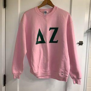Vintage Delta Zeta Russell Pink Sweatshirt Velour